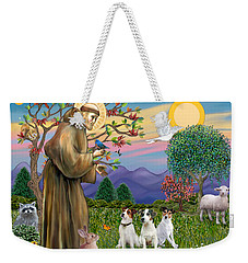 Saint Francis Blesses Three Jack Russell Terriers Weekender Tote Bag