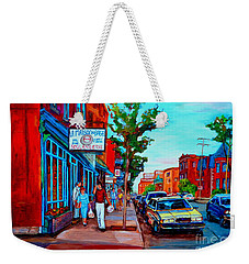 Saint Viateur Bagel Shop Weekender Tote Bag by Carole Spandau