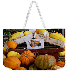 Weekender Tote Bag featuring the photograph San Joaquin Valley Squash Display by Michele Myers