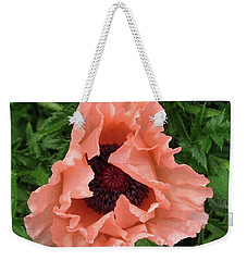 Salmon Colored Poppy Weekender Tote Bag by Barbara Griffin