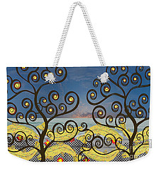 Salmon Dance Blue Weekender Tote Bag by Kim Prowse