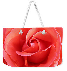 Weekender Tote Bag featuring the photograph Salmon Floral Rose Abstract by Judy Palkimas