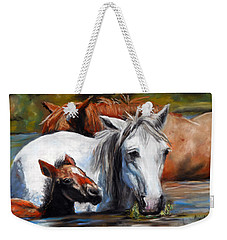 Weekender Tote Bag featuring the pastel Salt River Foal by Karen Kennedy Chatham