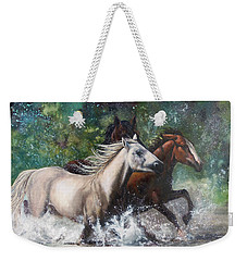 Weekender Tote Bag featuring the painting Salt River Horseplay by Karen Kennedy Chatham
