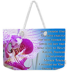 Weekender Tote Bag featuring the digital art Same Time by Cindy Greenstein