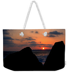 Weekender Tote Bag featuring the photograph San Clemente Rocks Sunset by Matt Harang
