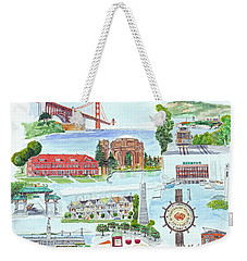 San Francisco Highlights Montage Weekender Tote Bag by Mike Robles