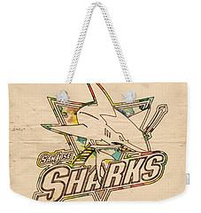 San Jose Sharks Vintage Poster Weekender Tote Bag by Florian Rodarte