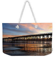 Weekender Tote Bag featuring the photograph San Simeon Pier by Vivian Christopher