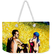 Weekender Tote Bag featuring the painting Sand Beach Father And Son by Jingfen Hwu
