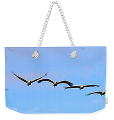 Sandhill Crane Flight Pattern Weekender Tote Bag by Mike Dawson
