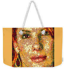 Weekender Tote Bag featuring the digital art Sandra Bullock In The Way Of Arcimboldo by Dragica  Micki Fortuna