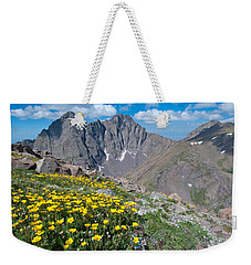 Weekender Tote Bag featuring the photograph Sangre De Cristos Crestone Peak And Wildflowers by Cascade Colors