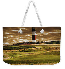 Weekender Tote Bag featuring the photograph Sankaty Head Lighthouse In Nantucket by Mitchell R Grosky