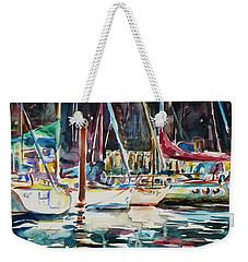 Weekender Tote Bag featuring the painting Santa Cruz Dock by Xueling Zou
