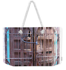 Weekender Tote Bag featuring the photograph Santa Fe Old Door by Dora Sofia Caputo Photographic Art and Design