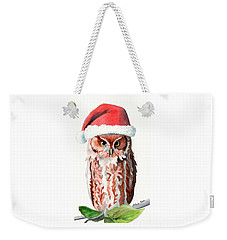 Santa Owl Weekender Tote Bag by LeAnne Sowa