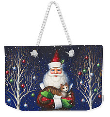 Santa's Cat Weekender Tote Bag