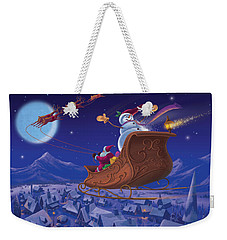 Weekender Tote Bag featuring the painting Santa's Helper by Michael Humphries