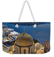 Santorini Caldera With Church And Thira Village Weekender Tote Bag