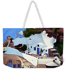 Santorini Cave Homes Weekender Tote Bag by Mike Robles