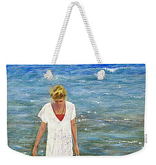 Weekender Tote Bag featuring the painting Savoring The Sea by Margaret Bobb