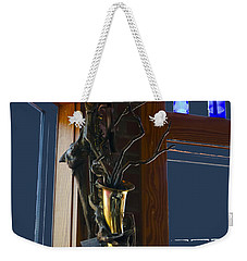 Weekender Tote Bag featuring the photograph Sax At The Full Moon Cafe by Greg Reed