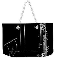 Saxophone Patent Black And White Weekender Tote Bag by Dan Sproul