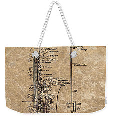 Saxophone Patent Design Illustration Weekender Tote Bag by Dan Sproul
