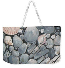 Scallop Shell And Black Stones Weekender Tote Bag
