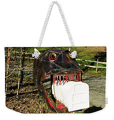 Weekender Tote Bag featuring the photograph Scary Mailbox 2 by Sherman Perry