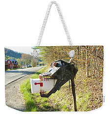 Weekender Tote Bag featuring the photograph Scary Mailbox by Sherman Perry