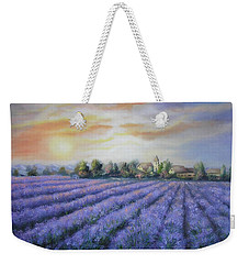 Weekender Tote Bag featuring the painting Scented Field by Vesna Martinjak