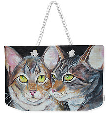 Weekender Tote Bag featuring the painting Scheming Cats by Thomas J Herring