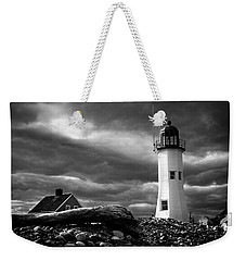 Scituate Lighthouse Under A Stormy Sky Weekender Tote Bag by Jeff Folger