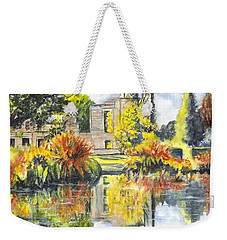 Weekender Tote Bag featuring the painting Scotney Castle Ruins Kent England by Carol Wisniewski