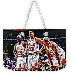 Scottie Pippen With Michael Jordan And Dennis Rodman Weekender Tote Bag