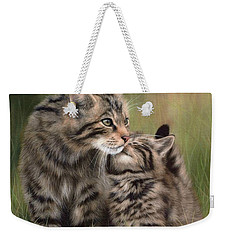 Scottish Wildcats Painting - In Support Of The Scottish Wildcat Haven Project Weekender Tote Bag by Rachel Stribbling