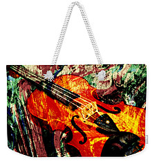 Weekender Tote Bag featuring the mixed media Scribbled Fiddle by Ally  White