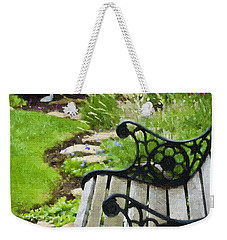 Scroll Bench Garden Scene Digital Artwork Weekender Tote Bag
