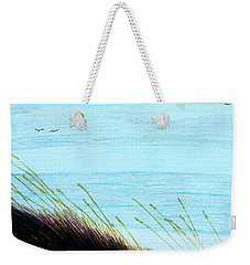 Weekender Tote Bag featuring the drawing Sea Oats In The Wind Drawing by D Hackett
