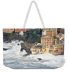 Weekender Tote Bag featuring the photograph Sea Storm In Camogli - Italy by Antonio Scarpi
