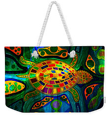 Sea Turtle - Abstract Ocean - Native Art Weekender Tote Bag