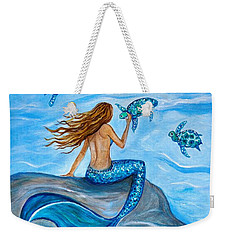 Sea Turtle Friends Weekender Tote Bag by Leslie Allen