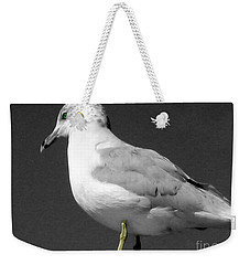 Weekender Tote Bag featuring the photograph Seagull In Black And White by Nina Silver
