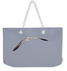 Weekender Tote Bag featuring the photograph Seagull In Flight Against A Blue Sky by Charles Beeler