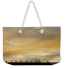 Weekender Tote Bag featuring the photograph Seagull Lineup by Kristen Fox