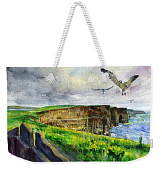 Seagulls At The Cliffs Of Moher Weekender Tote Bag by John D Benson