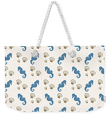 Seahorse And Shells Pattern Weekender Tote Bag by Christina Rollo