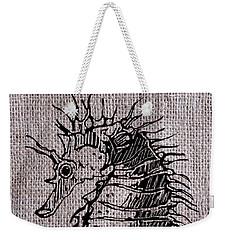 Seahorse On Burlap Weekender Tote Bag